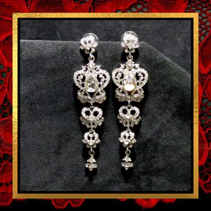 Long Rhinestone Heart Dangle Earrings  #745